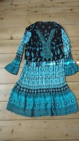 Dress/Tunic ethnic by Antonino Philosophy Peppermint green worn once go Glastonbury polyester