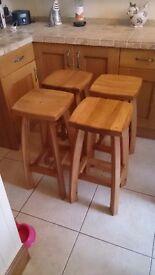 4 Solid oak kitchen stools