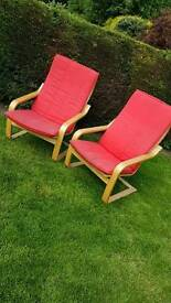 2 wooden seat with removable cushions