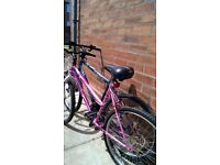 2 older type mens mountain bikes and ladies with 26 inch wheels no suspension