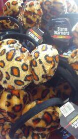 Joblot of 50 Storm Warmers Leopard Print Earmuffs, Brand New