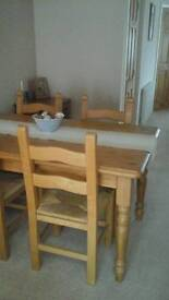 Pine table with beech chairs