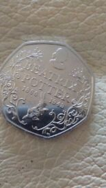Beattix potter 50p collectable. Dated 1866-1948 brand new no box but undamaged