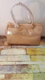 leather versace jeans handbag .