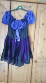 halloween dress size 12 to 14 comes with witches hat i had a lot of use out of it
