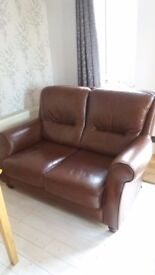 Two seater, three seater brown leather sofas
