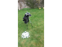 Golf clubs, Bag and 50 balls for sale.