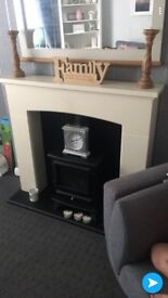 Cream and black fireplace