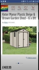 Keter 6x8 manor plastic shed NEW