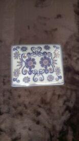 Blue/Gold Floral Porcelain Trinket Box