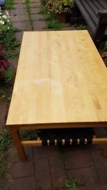 Large coffee table with webbing shelf underneath