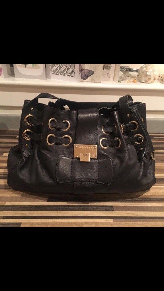 Jimmy Choo black leather hand bag