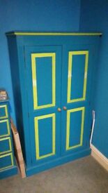 Wardrobe. Nicely painted. Not full height (157cm tall)