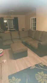 Large corner soft with foot stool fab condictio getting rid as to large for room