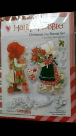 HOLLY HOBBIE CHRISTMAS JOY CLEAR RUBBER STAMP SET - BRAND NEW IN PACKAGING