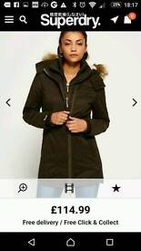 Superdry parka coat ladies nearly new excellent size small