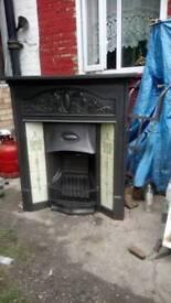 Victorian cast iron fire place tiled restored size 40'x46 original black ex connection quick sale