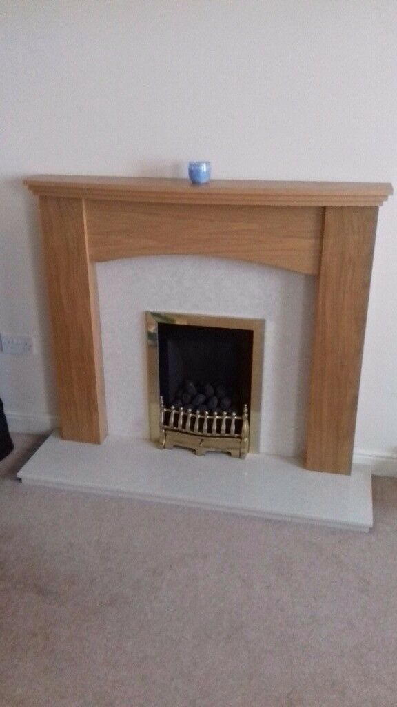 Gas Fire, Pine Mantle and Marble Hearth