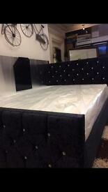 Black velvet double bed with new mattress £225 delivered