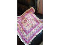 Handmade crocheted baby blanket For sale