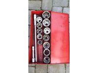 """1"""" (part) Socket Set (14 pieces boxed)"""