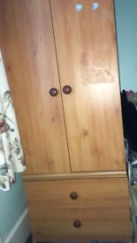 Tall bedroom wardrobe with twin doors and 2 drawers