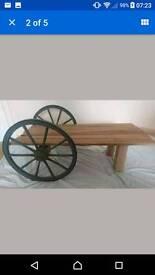Cart Wheel Coffee Table
