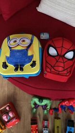 Minion bag and spider man lunch bag