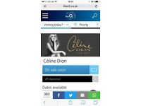 2 Tickets for Celine Dion in London o2 arena 20th June 2017 18:30