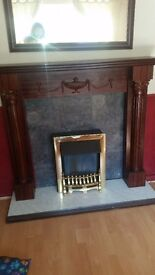 firesurround and electric fire with marble base