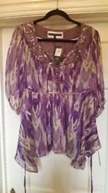New with tag Betty Jackson Black purple chiffon and sequin blouse size 14