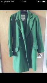Classy green wool coat for school or office !