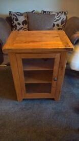Solid Oak Glazed Media Cabinet