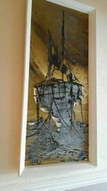 Retro Oil Painting of a Boat