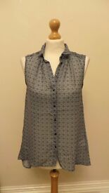 H&M Blue Shirt See through long at the back size EUR 34 - fits 8