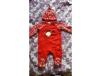 Mini Club Xmas Sleepsuit and hat - 0-3 months