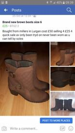 Brand new brown leather boots size 6