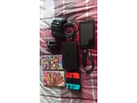 Nintendo Switch - Neon Red/Neon Blue Boxed with 2 Games and Pro Controller