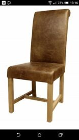 4 Brand new tanned leather dining chairs