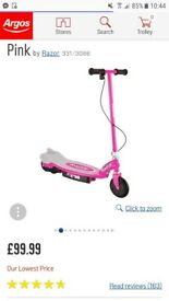 Pink razor electric scooter