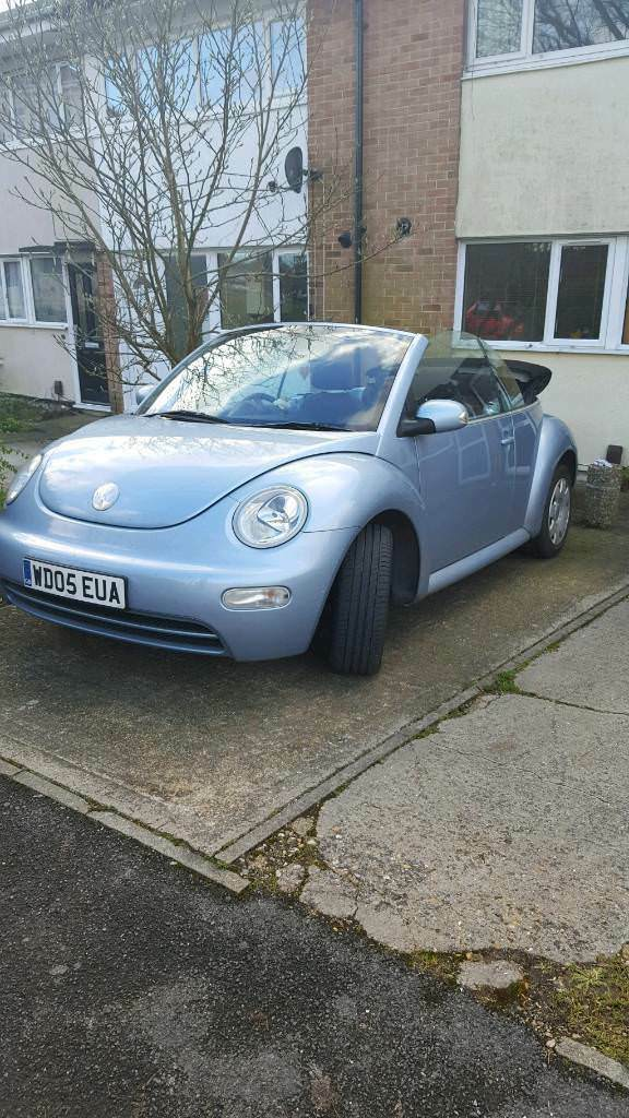 Light Blue Vw Beetle Convertible