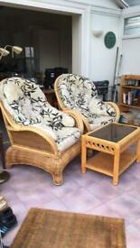 2 Bamboo Wicker Conservatory Chairs