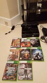 250GB BLACK XBOX 360 SLIM WITH CONNECT, ONE CONTROLLER AND 8 GAMES INCLUDING GTA 5 & BLACK OPS 2