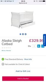 White sleigh Cot Bed and Changing Table