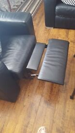 3 seater and armchair with lazy boy rests