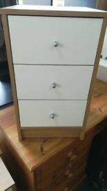 NEW Oak Effect and Cream 3 Drawer Bedside