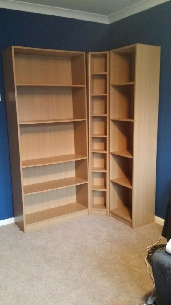 Oak effect shelving / corner unit