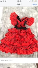 Spanish dress up flamenco fancy dress , age 2-3 years