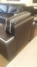 3 Seater Sofa and Chair in Black Leather. Very Chunky.