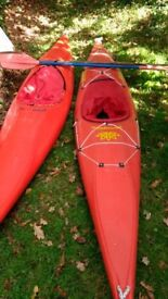 Pair of Dancer Canoes (plastic), complete with paddles and spray decks